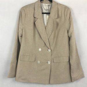 A New Day Linen Double Breasted Tan Blazer, 16